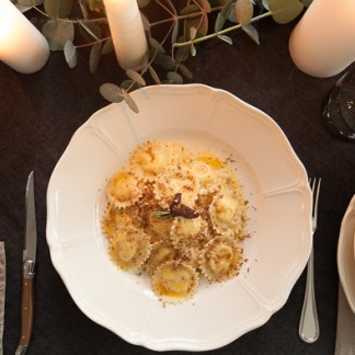 Homemade Ravioli di Fonduta with Truffle