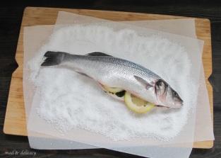 sea bass on a salt's bed