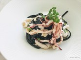 Cuttlefish ink black linguine with squid