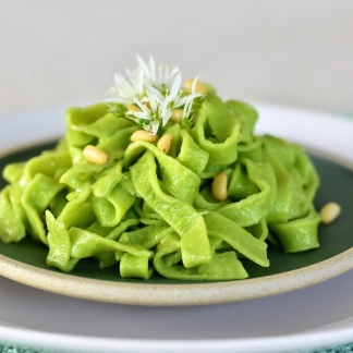 Homemade Tagliatelle with Wild Garlic
