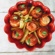 Stuffed Vine-Tomatoes and Potatoes