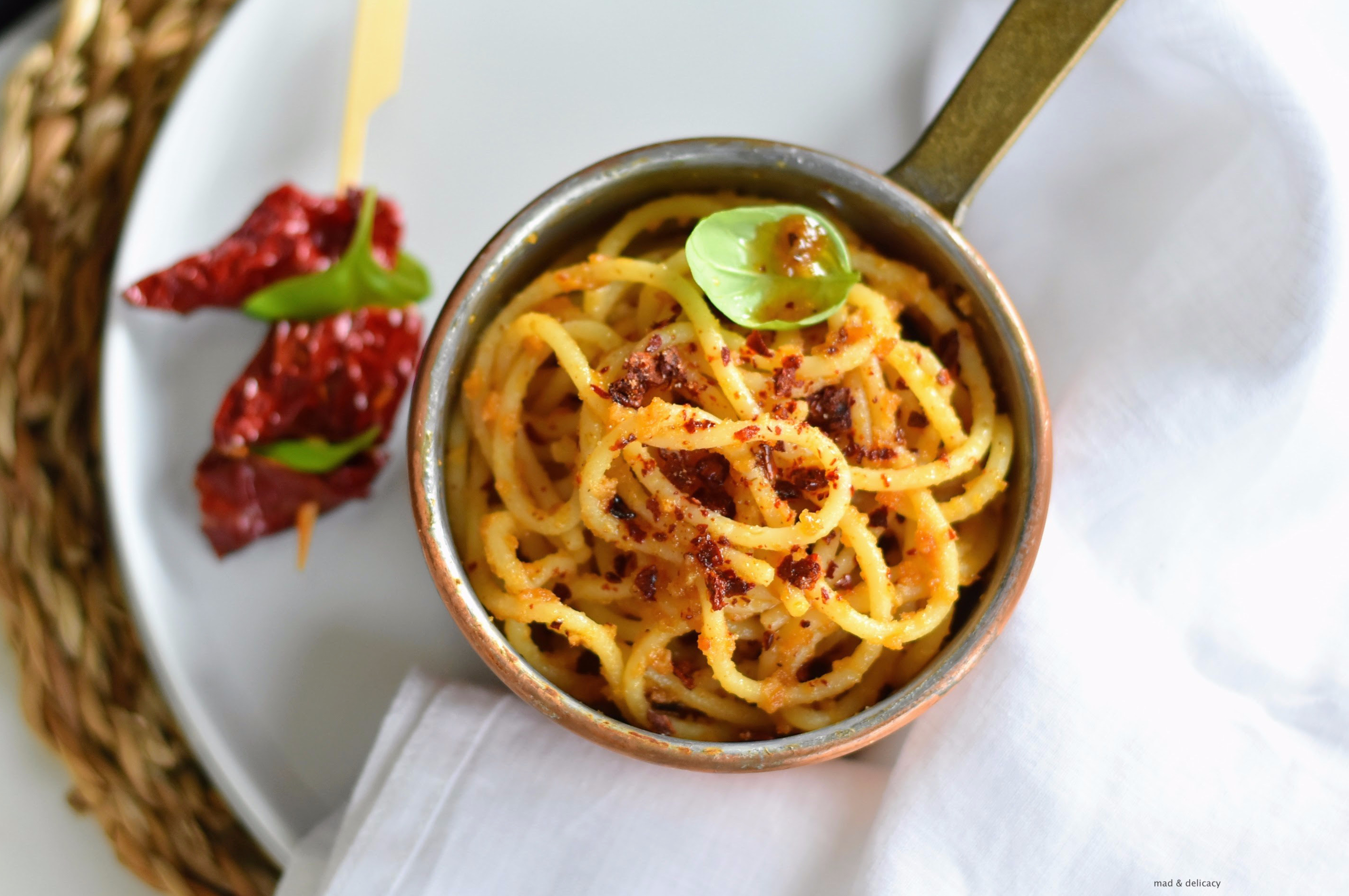 Spaghetti with Cruschi Peppers and Breadcrumbs