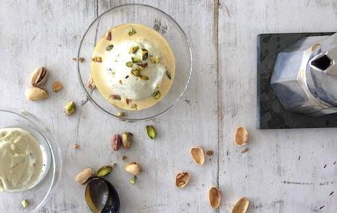 A Genius Dessert: Affogato al Caffè - Pistachio Ice Cream with Espresso Coffee