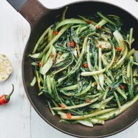 Roman Style Sauteed Catalonia Chicory with Garlic and Hot Peppers - Puntarelle Ripassate in Padella