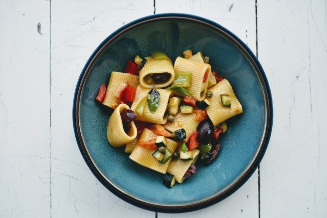 Veggie Pasta with Peppers Zucchini Tomatoes Olives Cappers