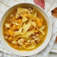 Autumn Pumpkin, Chickpea and Potato Soup with Tagliatelle