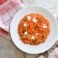Risotto with Red Peppers, Mozzarella and Basil Leaves