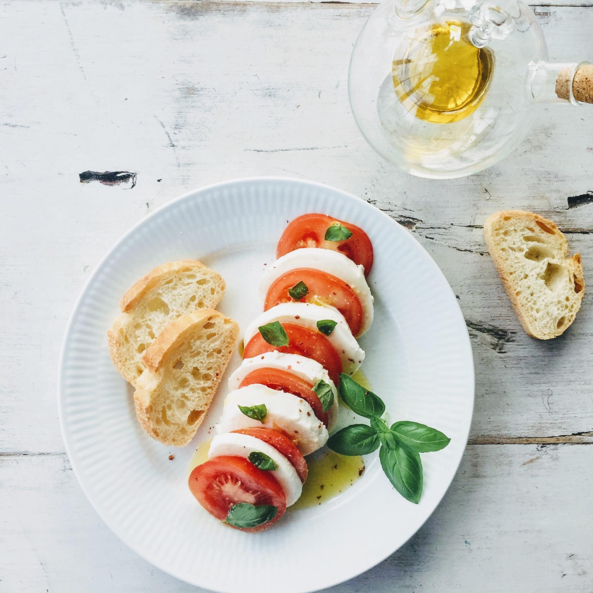 Caprese Salad -Tomatoes Mozzarella Basil Leaves Evo Oil