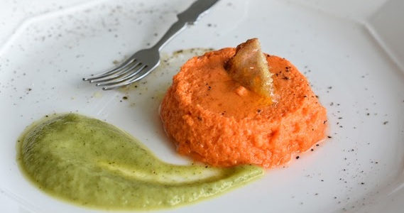 Red Pepper Flan with Zucchini Cream