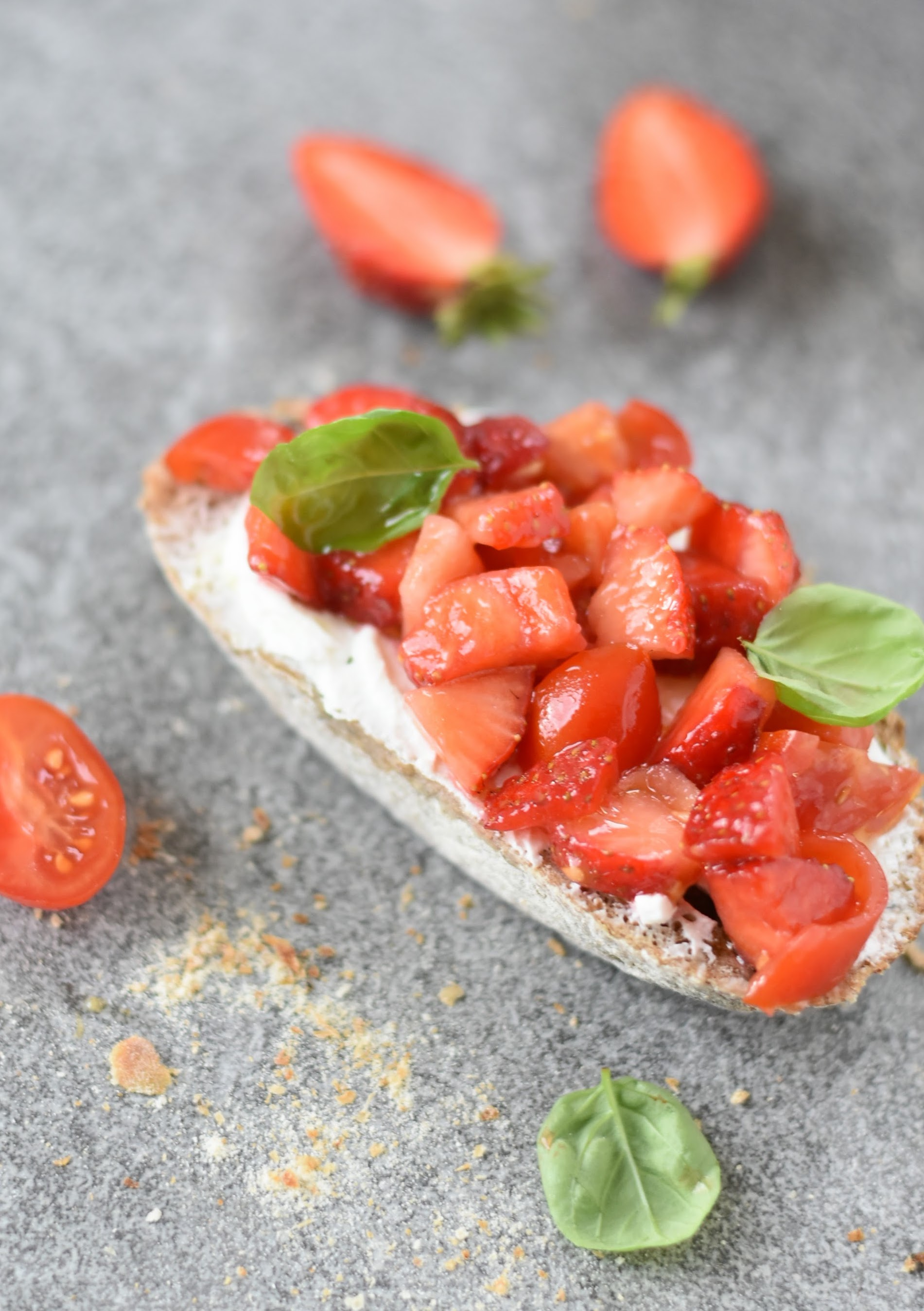 A Quirky Bruschetta with Strawberries and Tomatoes
