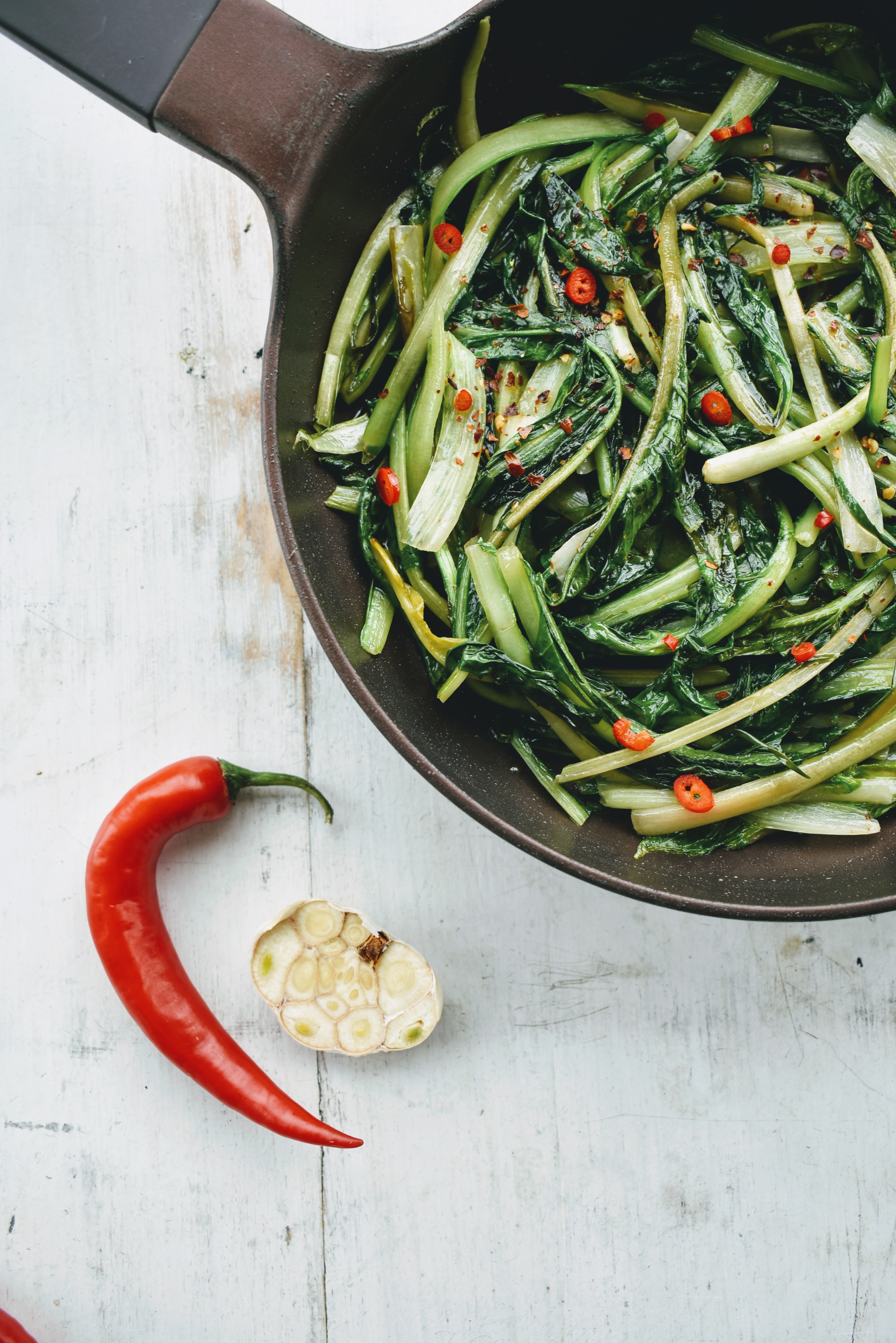 Roman Style Sauteed Catalonia Chicory with Garlic and Hot Peppers – Puntarelle Ripassate in Padella Recipe