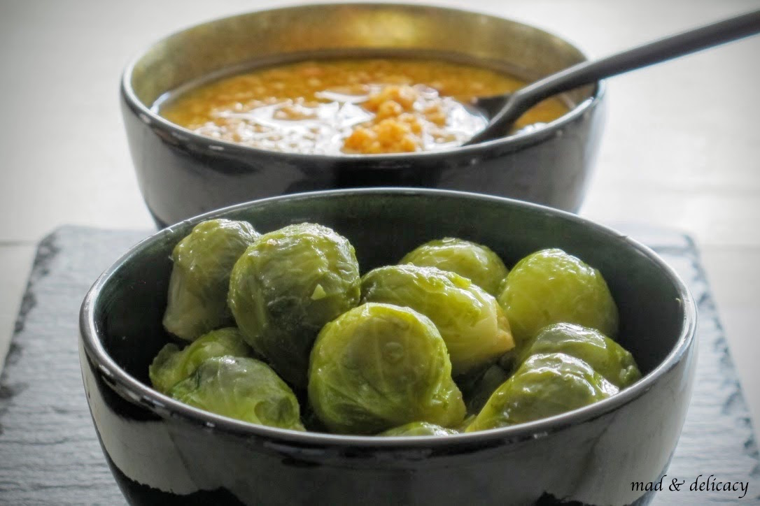 Steamed Brussels sprouts glossed with butter